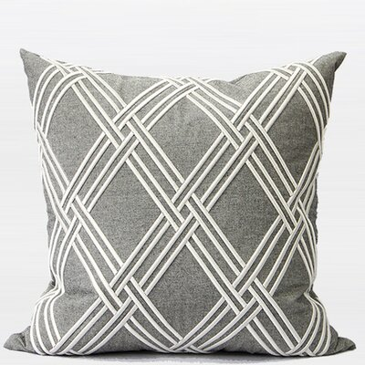 Luxury Textured Check Embroidered Throw Pillow