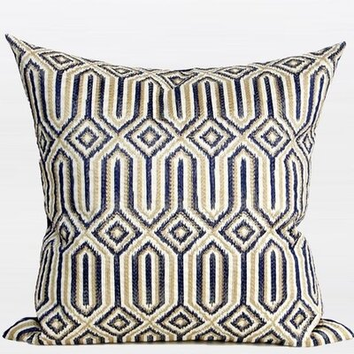 Luxury Classical Embroidered Throw Pillow Color: Blue