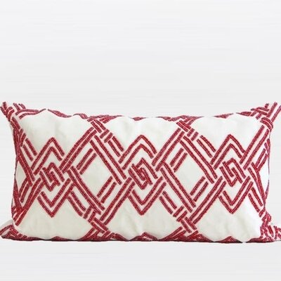 Handmade Textured Check Beaded Pillow Cover Color: Red