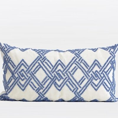 Handmade Textured Check Beaded Pillow Cover Color: Blue