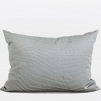Nonobjective Embroidered Line Pillow Cover Color: Silver Gray