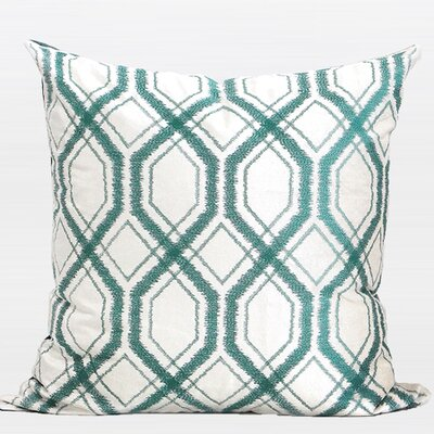 Geometry Pattern Cotton Throw Pillow Color: Lack Blue