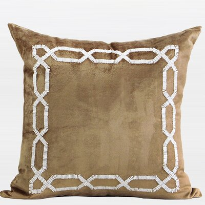 Handmade Textured Frame Beaded Throw Pillow Color: Gold