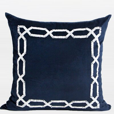 Handmade Textured Frame Beaded Throw Pillow Color: Blue