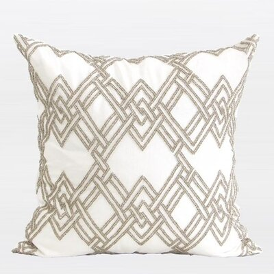 Handmade Textured Check Beaded Pillow Cover Color: Gold