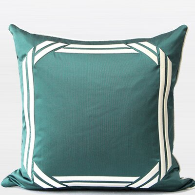 Embroidered Modern Frame Textured Throw Pillow