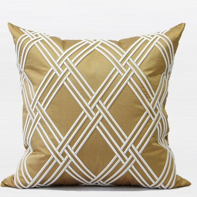 Textured Check Embroidered Throw Pillow