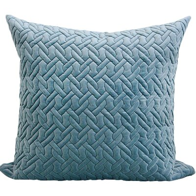 Luxury Braid Textured Quilting Pillow Cover Color: Sky Blue