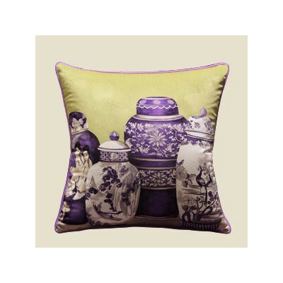 Vase Printing Throw Pillow Color: Purple/Yellow