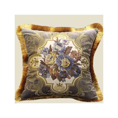 Flower Embellished Throw Pillow Color: Gray/Blue/Gold