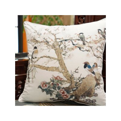 Bird Printing Throw Pillow Color: White