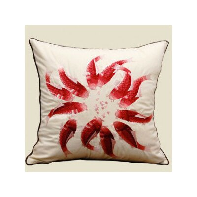 Fish Embroidered Pillow Cover Color: Red/White