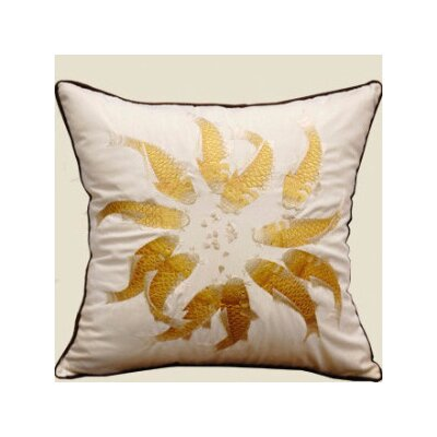 Fish Embroidered Pillow Cover Color: Yellow/White