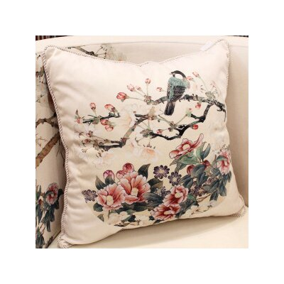 Bird Round Printing Throw Pillow Color: White