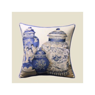 Vase Throw Pillow Color: Blue/White