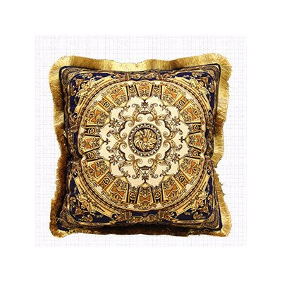 Flower Embellished Pillow Cover Color: Blue Gold