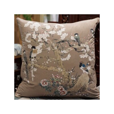 Bird Printing Throw Pillow Color: Brown