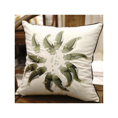 Fish Embroidered Pillow Cover Color: Green/White