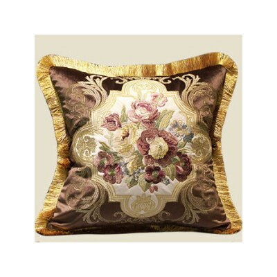 Flower Embellished Throw Pillow Color: Brown/Gold