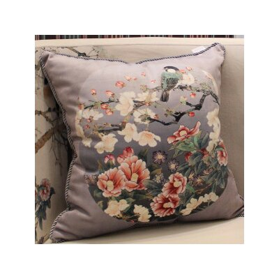 Bird Round Printing Pillow Cover Color: Gray Purple