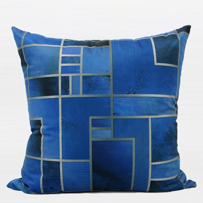 Luxury Geometry Digital Printing Flannel Throw Pillow Color: Blue