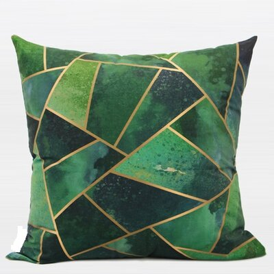 Luxury Geometry Digital Printing Flannel Throw Pillow Color: Green