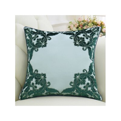 Luxury Detailed Floral Pillow Cover Color: Green