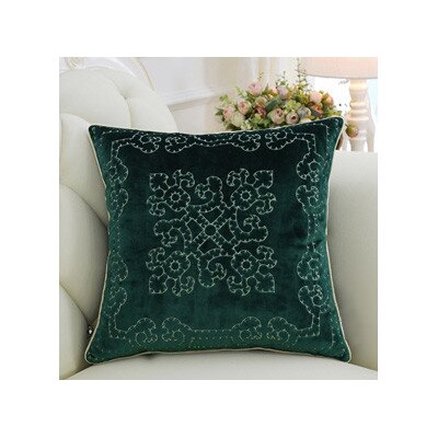 Luxury Embroidered Floral Throw Pillow Cover Color: Green
