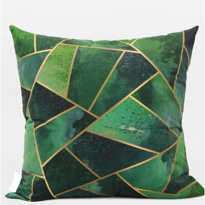 Luxury Geometry Flannel Pillow Cover Color: Green