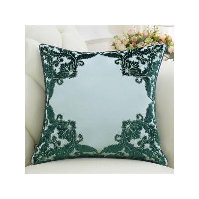 Luxury Detailed Floral Throw Pillow Color: Green