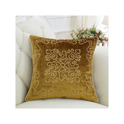 Luxury Embroidered Throw Pillow Color: Yellow