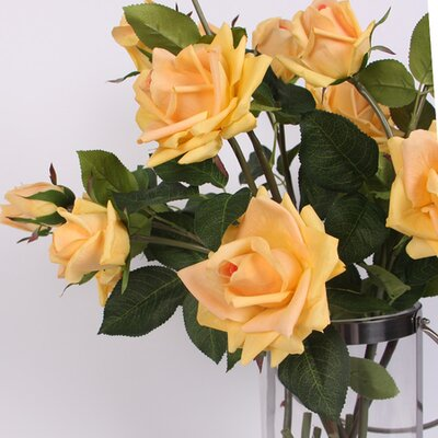 Real Touch 3 Rose Flower in Vase Flower Color: Champagne Yellow