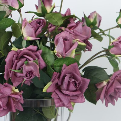 Real Touch 3 Rose Flower in Vase Flower Color: Purple