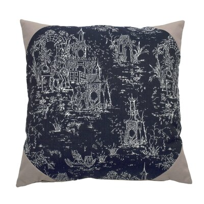 Osaka Toile Indoor/Outdoor Throw Pillow (Set of 2) Color: Indigo, Size: 22 x 22