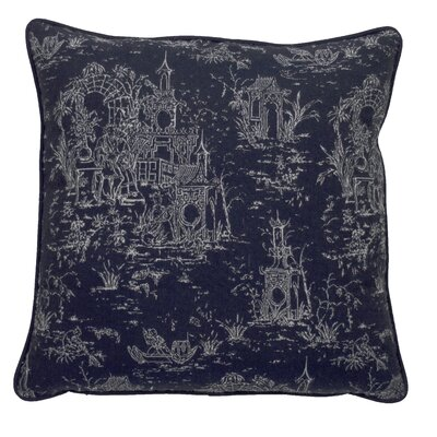 Osaka Toile Indoor/Outdoor Throw Pillow (Set of 2) Color: Indigo/Navy, Size: 24 x 24
