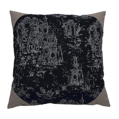 Osaka Toile Indoor/Outdoor Throw Pillow (Set of 2) Color: Midnight/Onyx, Size: 20 x 20