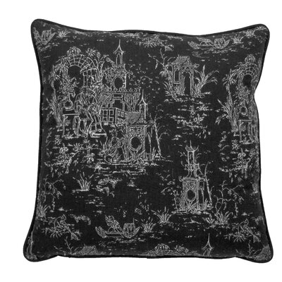 Osaka Toile Indoor/Outdoor Throw Pillow (Set of 2) Color: Midnight, Size: 24 x 24