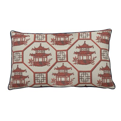 Pagoda Scene Indoor/Outdoor Lumbar Pillow (Set of 2) Color: Indigo