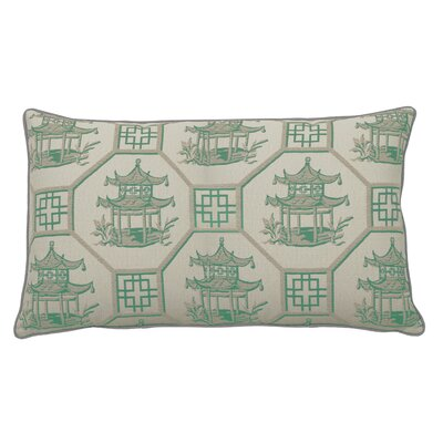 Pagoda Scene Indoor/Outdoor Lumbar Pillow (Set of 2) Color: Emerald