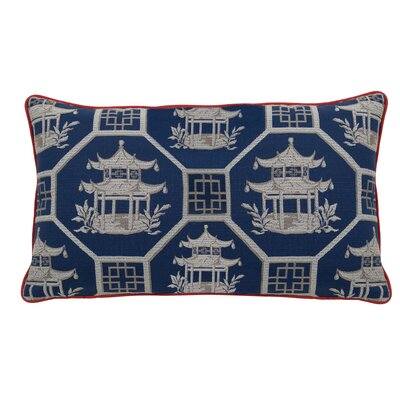 Pagoda Scene Indoor/Outdoor Lumbar Pillow (Set of 2) Color: Navy
