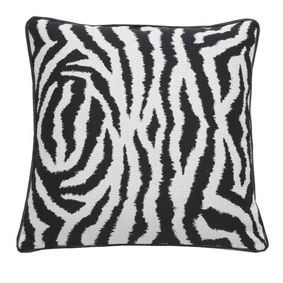Zebra Indoor/Outdoor Throw Pillow (Set of 2) Color: Midnight, Size: 20 x 20