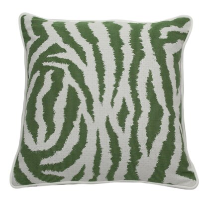 Zebra Indoor/Outdoor Throw Pillow (Set of 2) Color: Emerald, Size: 24 x 24