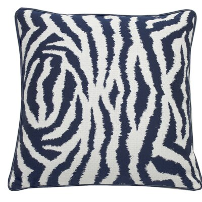 Zebra Indoor/Outdoor Throw Pillow (Set of 2) Color: Indigo, Size: 24 x 24