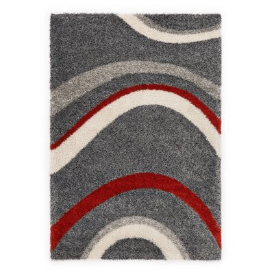 Ocean Gray/Red Area Rug Rug Size: 53 x 77