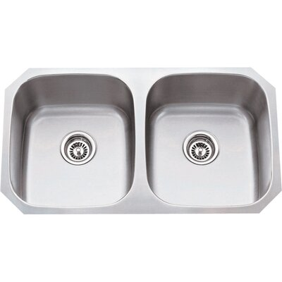32.25 x 18.5 Double Bowl 16 Gauge 50/50 Stainless Steel Undermount Kitchen Sink