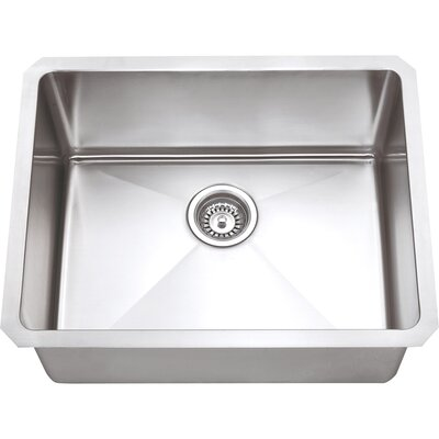 23 x 18 Single Bowl 16 Gauge Stainless Steel Kitchen Sink