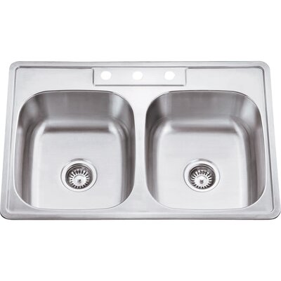33 x 22 Double Bowl 20 Gauge Stainless Steel Drop In Kitchen Sink