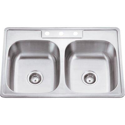33 x 22 Double Bowl 20 Gauge Stainless Steel Drop In Kitchen Sink