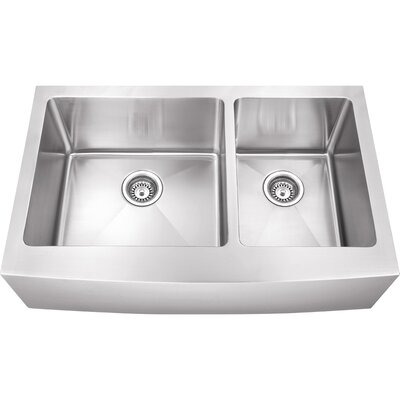 35.88 x 20.75 Double Bowl 16 Gauge Stainless Steel Farmhouse Kitchen Sink