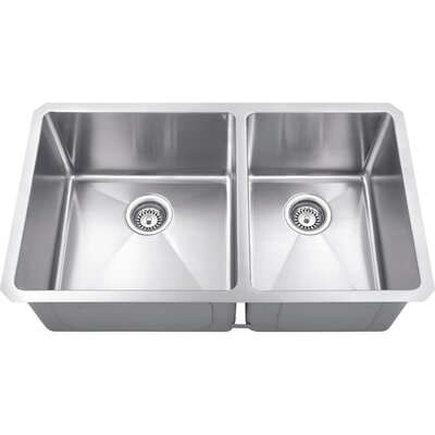 32 x 19 Double Bowl 16 Gauge Stainless Steel Kitchen Sink